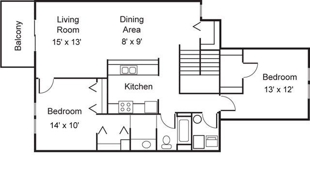 Dittmar Realty - Hillside Terrace Apartments Floorplan 3