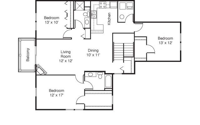 Dittmar Realty - Hillside Terrace Apartments Floorplan 4